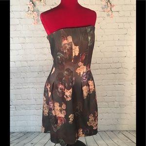 H&M strapless floral dress - size 14